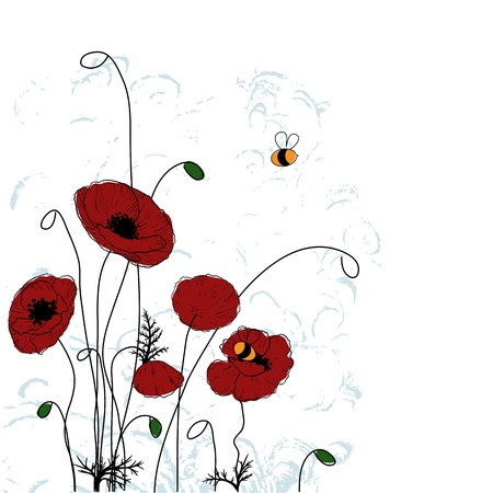 Poppies and bees. Summer background