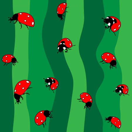 caricaturas de animales: Mariquitas en verde. Sin costura Vectores