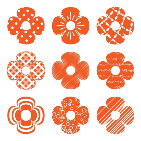 set of simple orange flowers
