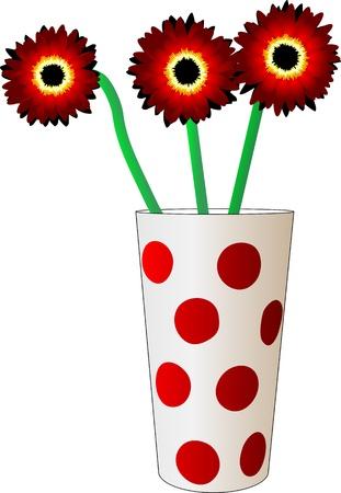drie rode bloem in een glas met stippen