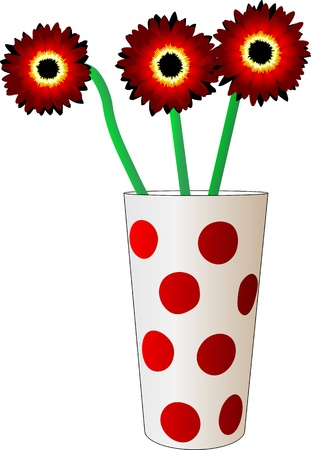 arrangement: three red flower in a glass with polka dots