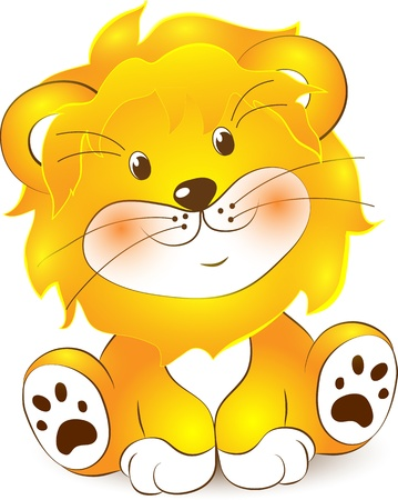 illustration of Lion cartoon on a white background Vector