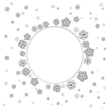 tibetan: monochrome delicate gray lace flowers on white background  greeting card