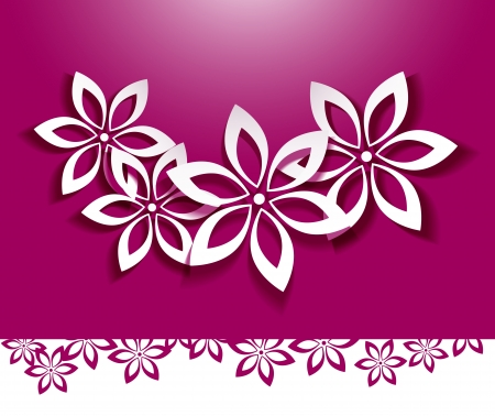 Floral background  White flowers over pink Illustration