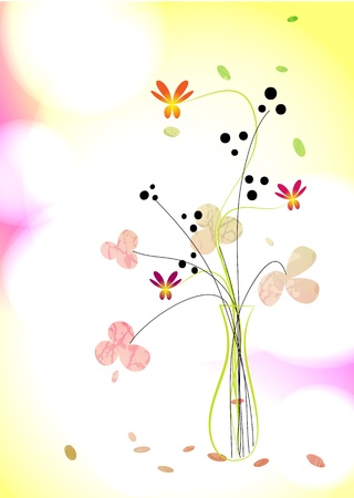 Floral background  A bouquet in a vase Illustration