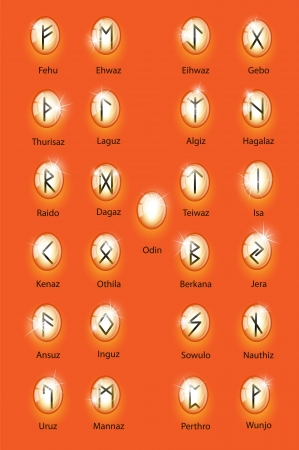 Glass orange runes