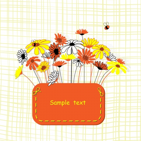 Card with vector stylized flowers   Calendula and camomile