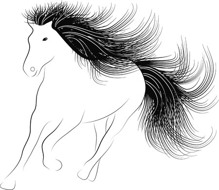 Monochrome silhouette Horse running with flowing mane Vector
