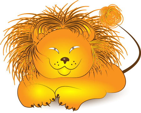illustration of Lion cartoon on a white background Illustration