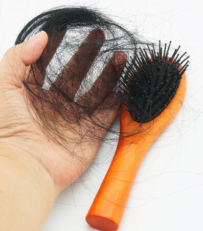 Many hair, fall out of your head after combing hair.                                photo