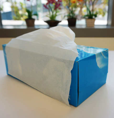 hanky: Blue tissue box has white toilet paper inside, placed on table in office.