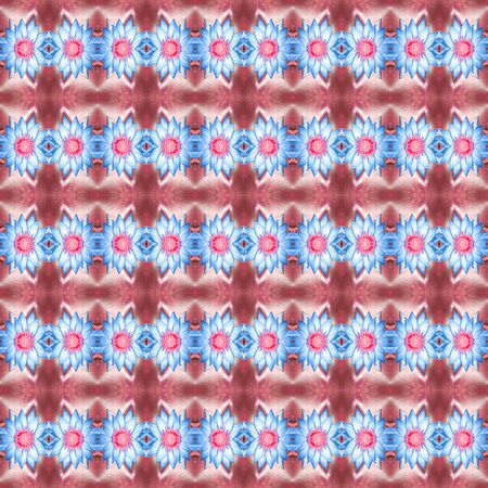 waterlily: Beautiful blue waterlily or lotus blossom flower in pond seamless use as pattern and wallpaper. Stock Photo