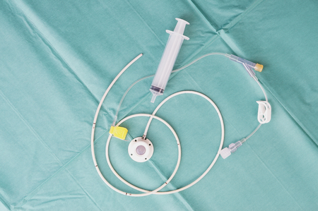 Port a catheter or central venous port insertion, puncture at chest wall to aorta artery  a medical device as silicone cartridges ,has flexible tube with syringe.