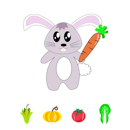 a little lovely rabbit with carrot, corn, pumpkin, tomato and cabbage on white background.
