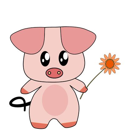 Pretty pink pig holding one yellow flower on white background. Stock Illustratie