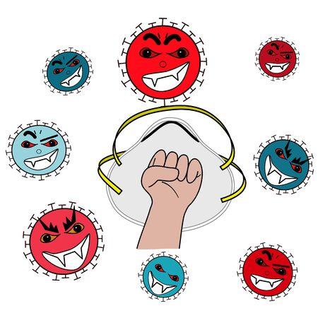 encourage hand to fighting various violence coronavirus with Mask N95 on white background. Vektorgrafik