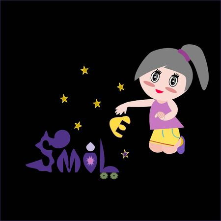 """A lovely girl sitting and pick up letters to add the word """"smile� in fantasy world."""