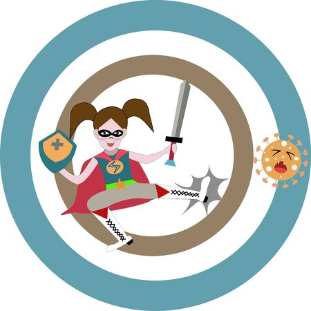 A lovely girl hold sword and puffed shield in hands, jump to kick corona virus. Çizim