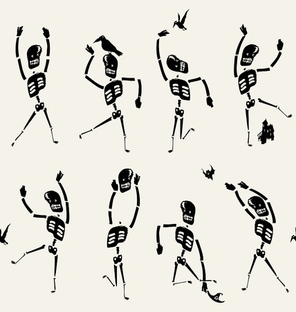 all saints day: dancing skeletons pattern Illustration