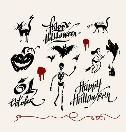 october 31: Halloween signs Illustration
