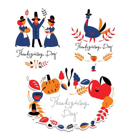 festival of the grape harvest: Thanksgiving day set Illustration