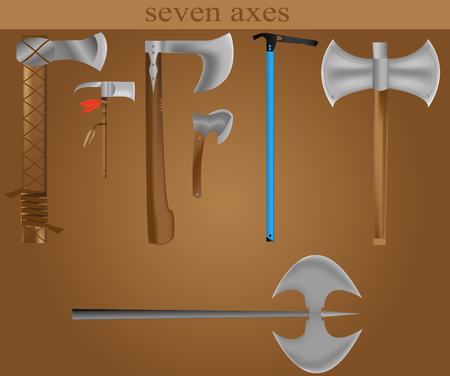 ice axe: seven detailed axes  Illustration