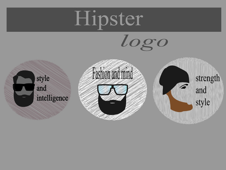 brow: logo hipster in gray scale for your purpose