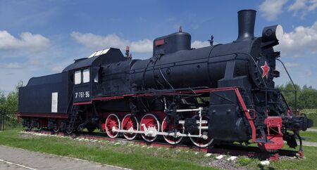 steam locomotives: The Museum of old steam locomotives near the Sorting station, the city of Nizhny Novgorod, Russia, 2015 The Museum of old locomotives in the open in Nizhny Novgorod, Russia. 2015.