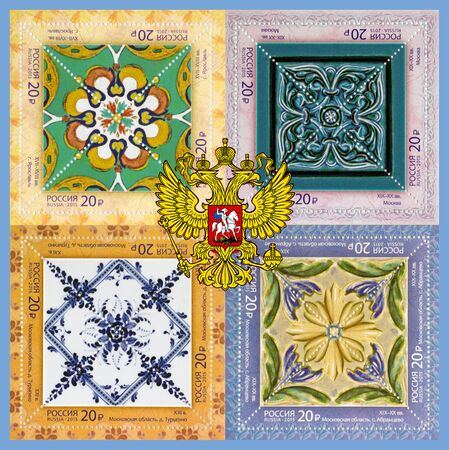 postage stamps: Collage. The  national emblem of Russia on the background of the postage stamps with the image of ceramic tiles