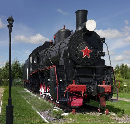 machinist: The Museum of old steam locomotives near the Sorting station, the city of Nizhny Novgorod, Russia, 2015 The Museum of old locomotives in the open in Nizhny Novgorod, Russia. 2015.
