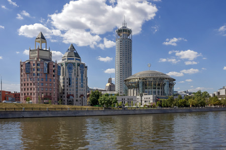 gorbachev: Russia, Moscow, Kosmodamianskaya embankment. On the right Moscow International House of Music