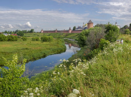 atheism: Russia, Vladimir Region, the Monastery of the Vladimir and Suzdal Eparchy of the Russian Orthodox Church, located on the left bank of the Kamenka River in the northern part of Suzdal Stock Photo