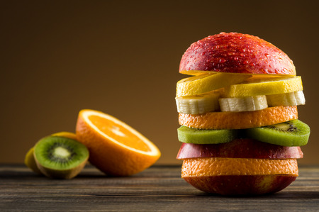 Burger with fruit Stock Photo