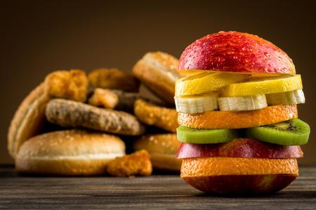 Burger with fruit Stock Photo