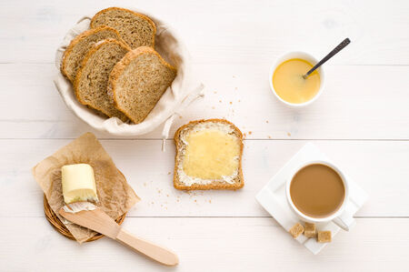 good health: Breakfast including  bread, honey, butter and coffee
