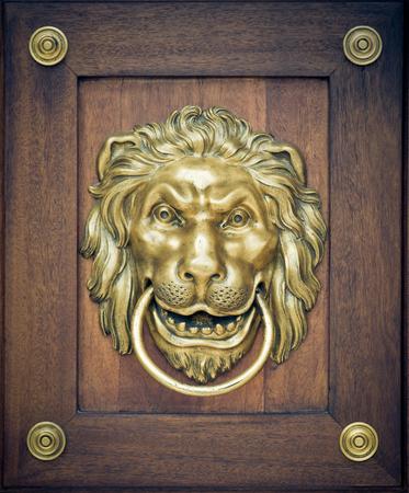 knocker: Lion door knocker on wooden door
