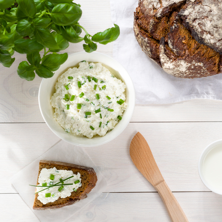 chives: Breakfast including cottage cheese, bread and milk