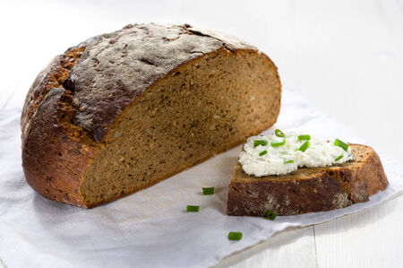 Sandwich with cream cheese and chives photo