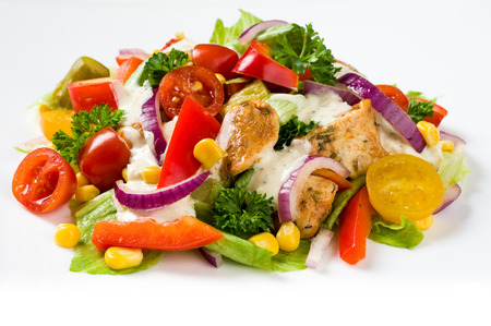 Chicken gyros salad Stock Photo
