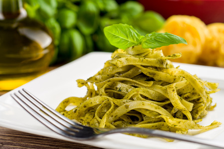 Tagliatelle with pesto photo