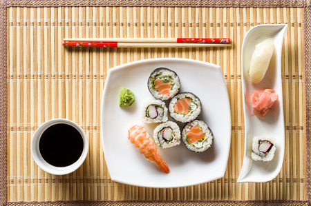 sushi plate: Sushi on white plate top view Stock Photo