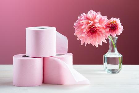 Toilet paper on the table Archivio Fotografico