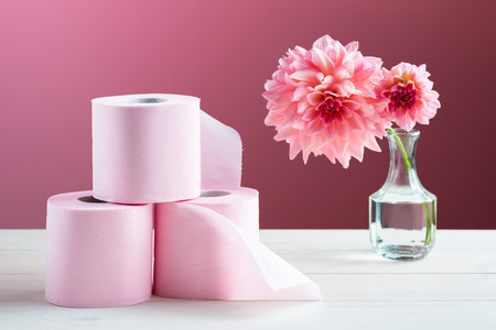 Toilet paper on the table Banco de Imagens