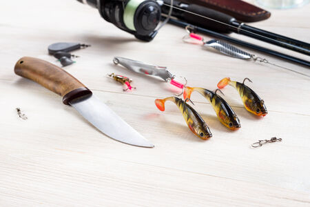 stocked: Fishing accessories on the table