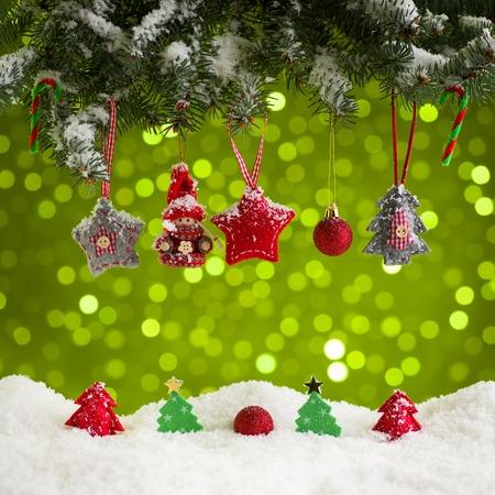 bakground: Christmas decoration on green bakground Stock Photo