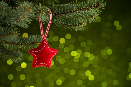 Christmas decoration on green bakground Stock Photo