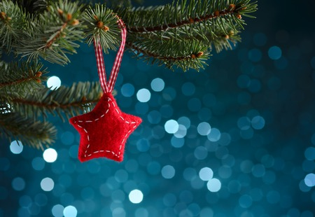 red white blue: Christmas decoration on blue background Stock Photo