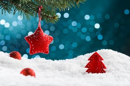 Kerst decoratie op blauwe achtergrond