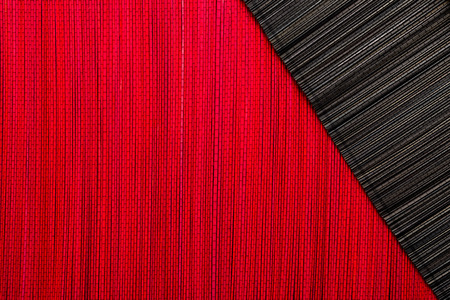 chinese bamboo: Red and black bamboo mat texture or background Stock Photo