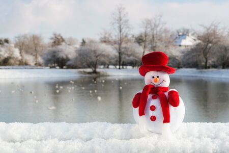 Snowman and winter landscape in the background